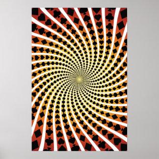 Poster: Poker Card Suits Spiral: Black Jack