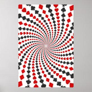 Poster: Poker Card Suits Spiral: Black Jack Poster