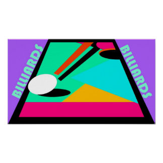 POSTER ~ POOL ~ BILLIARDS IN ABSTRACT ~ CUE BALL
