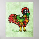 Poster portugués de la impresión del gallo de