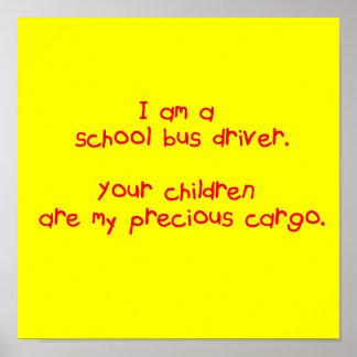 Poster precioso del cargo del conductor del autobú