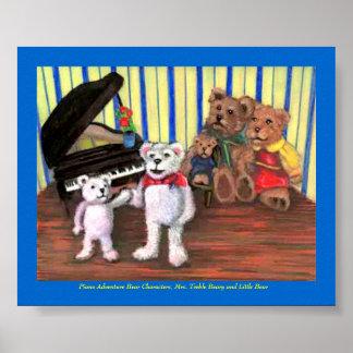Poster, primera lección del piano del pequeño oso