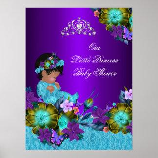 Poster Princess Baby Shower Teal Blue Purple Girl