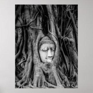 Poster principal Tailandia de Buda blanco y negro