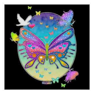 Poster, Print, Art - BUTTERFLY POP ART Poster