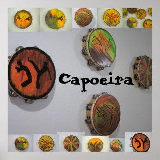 poster print capoeira tambourine pandeiro axe