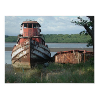 Poster/Print: Discarded Tugboat Poster