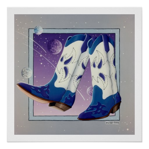 Poster, Print - Electric Slide Cowboy Boots