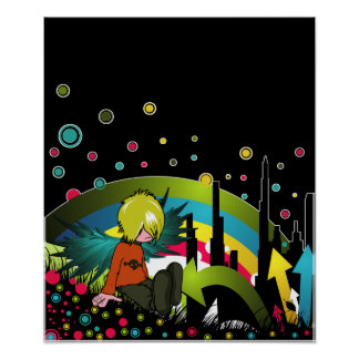 Poster/Print:  Emo Boy Under Muted Rainbow Poster