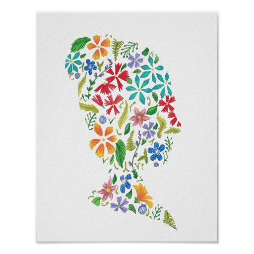 Poster Print Floral Girl