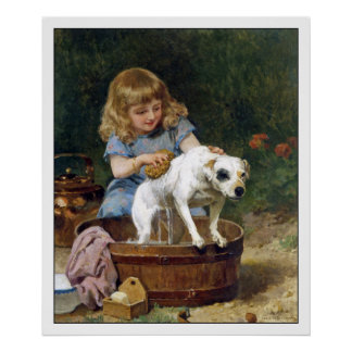 Poster Print: Giving the Dog a Bath - Vintage Art