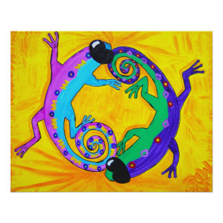Poster Print-Groovy Tropical Lizards