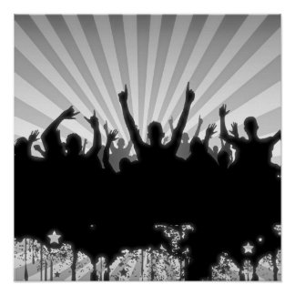 POSTER/PRINT Grunge Party Crowd Silhouette B&W Poster