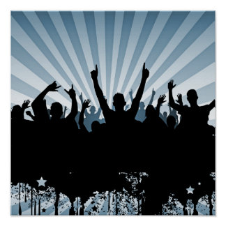 POSTER/PRINT Grunge Party Crowd Silhouette Blue Poster