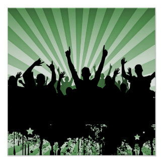 POSTER/PRINT Grunge Party Crowd Silhouette Green Poster