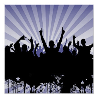 POSTER/PRINT Grunge Party Crowd Silhouette Indigo