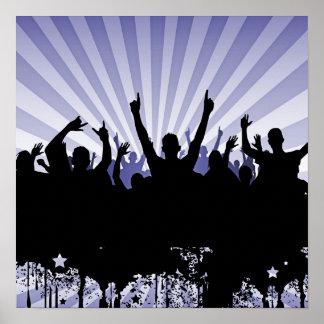 POSTER/PRINT Grunge Party Crowd Silhouette Indigo