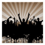 POSTER/PRINT Grunge Party Crowd Silhouette Orange Poster