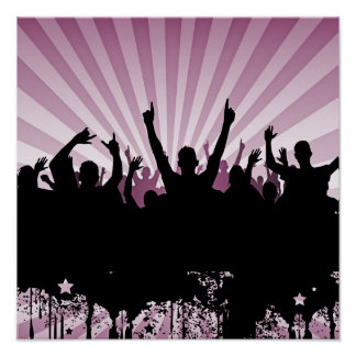 POSTER/PRINT Grunge Party Crowd Silhouette Pink Poster