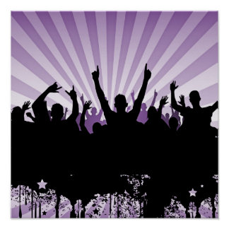 POSTER/PRINT Grunge Party Crowd Silhouette Purple Poster