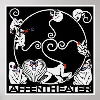 Poster Print: Jugendstil Plakat Affentheater