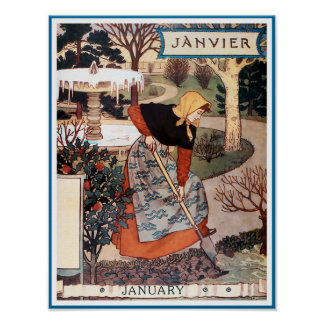 Poster/Print: Month of January - Janvier Poster