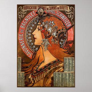 Poster Print Mucha - Savonnerie de Bagnolet