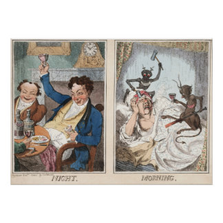 Poster/Print: Night - Morning - Antique Caricature Poster