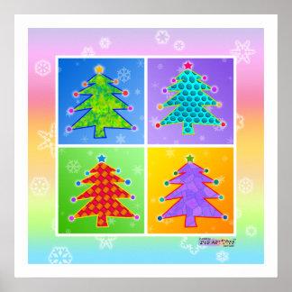 Poster, Print - Pop Art Christmas Trees