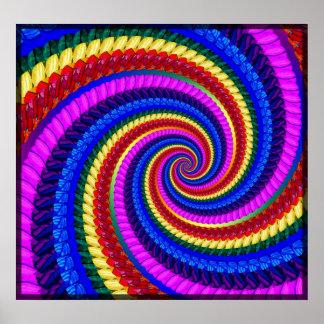 Poster Print - Rainbow Swirl Fractal Pattern