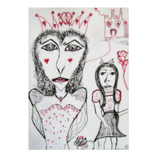 Poster Print -Red Queen of Hearts