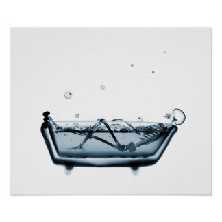 Poster/Print X-Ray Skeleton Bath White Blue Poster
