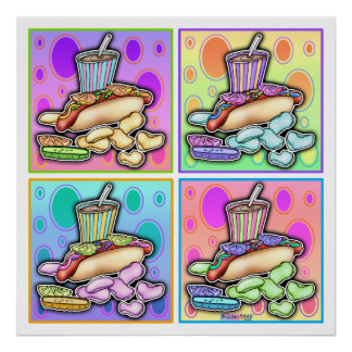 Poster, Prints - Pop Art Hot Dog with Chips & a Dr