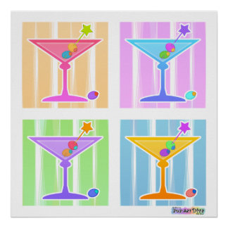 Poster, Prints - Retro Pop Art Martinis