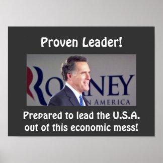"""Poster probado Romney 16"""" de la foto del líder X12"""