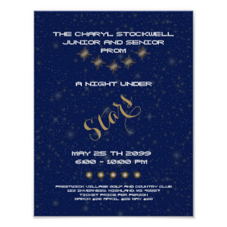 POSTER Prom senior Junior,Night Stars, blue, Stars