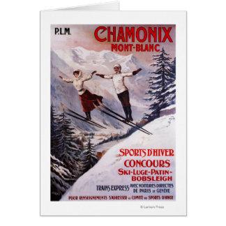 Poster promocional de esquí tarjeta