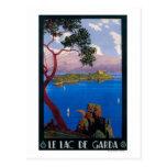 Poster promocional del viaje de Garda del lago Tarjetas Postales