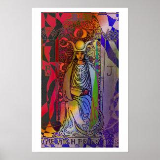Poster psicodélico de la alta carta de tarot de la