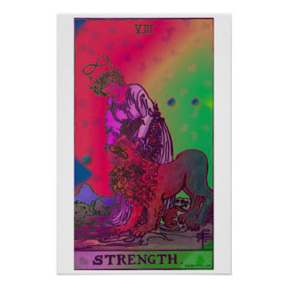 Poster psicodélico de la carta de tarot de la fuer