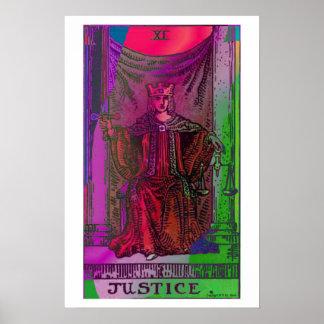 Poster psicodélico de la carta de tarot de la just