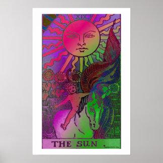 Poster psicodélico de la carta de tarot de The Sun