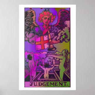Poster psicodélico de la carta de tarot del juicio