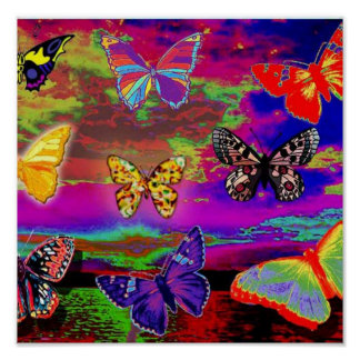 poster psicodélico de las mariposas