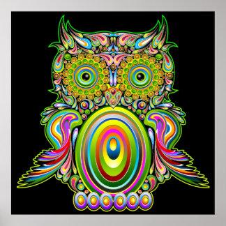 Poster psicodélico de Popart del búho