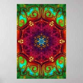 Poster psicodélico del arte de la mandala de las