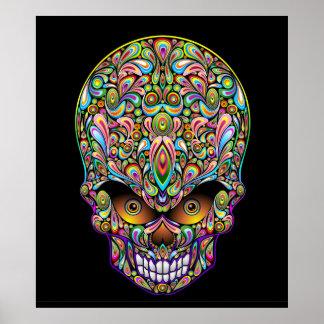 Poster psicodélico del diseño del arte del cráneo