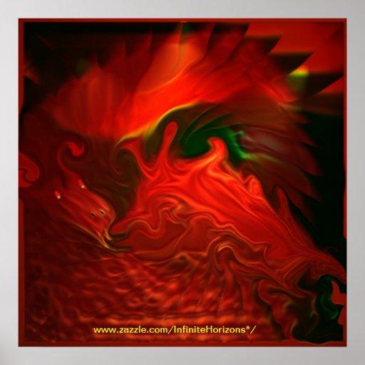 Poster psicodélico del estilo 3 del dragón en 5 ta