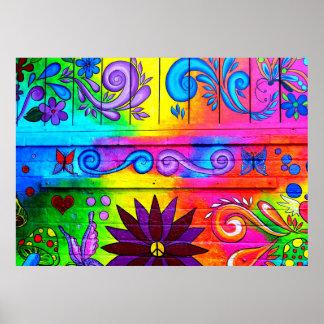 poster psicodélico del mural del hippie