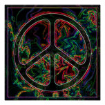 poster psicodélico del signo de la paz